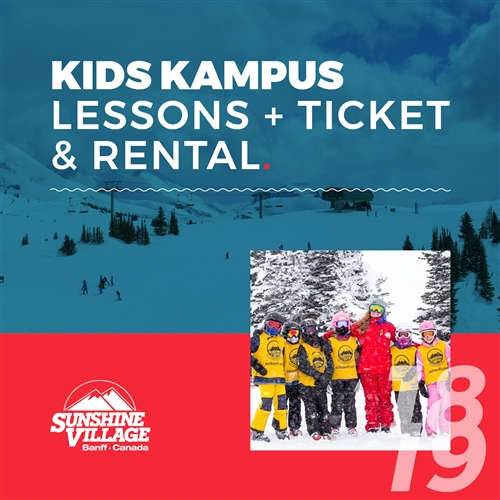 2018-19 Kids Kampus Lessons + Lift Ticket & Rental